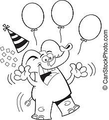 Cartoon Birthday Elephant Jumping ( - Black and white...
