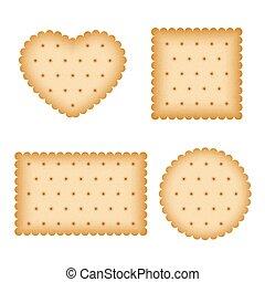 Cartoon biscuit, eating pastry, breakfast cookies vector set