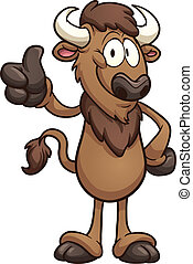 Cartoon bison. Vector clip art illustration with simple gradients. All in a single layer.
