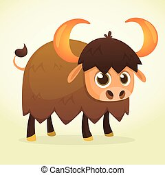 Cartoon bison. Vector illustration