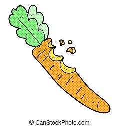 cartoon bitten carrot - freehand drawn cartoon bitten carrot