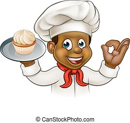 Cartoon Black Baker or Pastry Chef