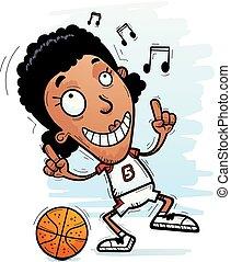 Cartoon Black Basketball Player Dancing