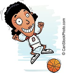 Cartoon Black Basketball Player Jumping