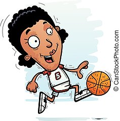 Cartoon Black Basketball Player Running