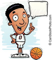 Cartoon Black Basketball Player Talking