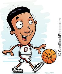 Cartoon Black Basketball Player Walking