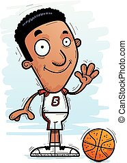 Cartoon Black Basketball Player Waving