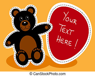 Cartoon black bear with sign