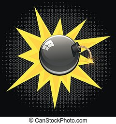 Cartoon Black Bomb - Round black bomb about to explode with...