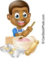 Cartoon Black Boy Baking Cakes