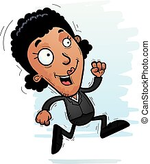 Cartoon Black Businesswoman Running