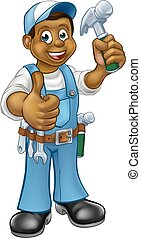 Cartoon Black Carpenter Character