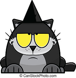 Cartoon Black Cat in Witches Hat