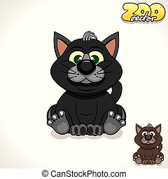 Cartoon Black Cat. Vector Character