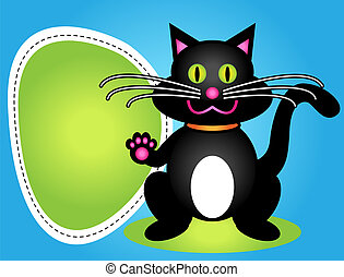 Cartoon black cat with sign