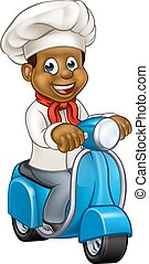 Cartoon Black Chef Delivery Moped