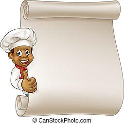 Cartoon Black Chef Menu Scroll