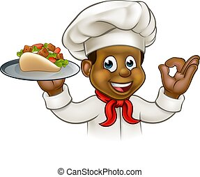 Cartoon Black Chef with Kebab