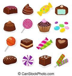 Cartoon black chocolate sweet candies and lollipops vector set