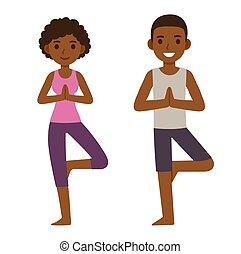 Cartoon black couple doing yoga