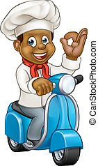 Cartoon Black Delivery Moped Chef