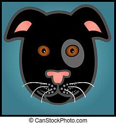 Cartoon black dog
