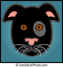 Cartoon black dog