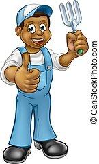 Cartoon Black Gardener