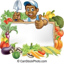 Cartoon Black Gardener Sign