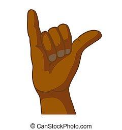 Cartoon black hand in shaka gesture on white - Cartoon black...