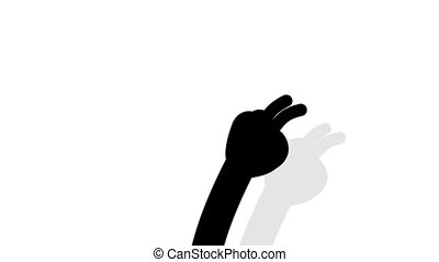 Cartoon black hand silhouette makes countdown with fingers from 1 to 5