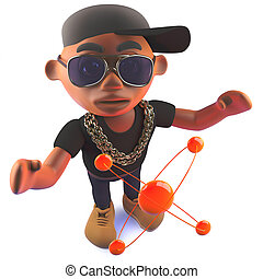 Cartoon black hip hop rapper in 3d with nuclear atom -...