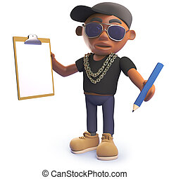 Cartoon black hiphop rapper holding a clipboard and pencil,...
