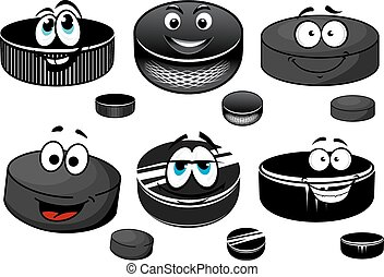 Black ice hockey rubber pucks cartoon characters with happy smiling faces for sporting mascot design