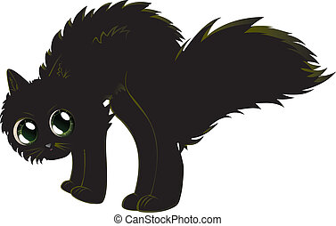 Cartoon black kitten