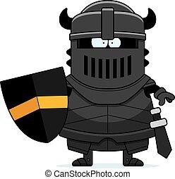 Cartoon Black Knight in Armor