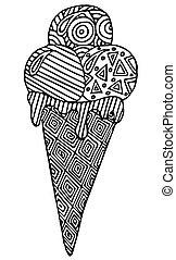 Cartoon black line ice cream in waffle with geometrical ornament