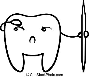 Cartoon black line tooth with toothpick for International Dentist Day