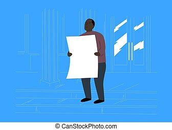 Cartoon Black man protesting with white cardboard.