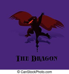 Cartoon black night dragon with red wings in flight, on purple background,