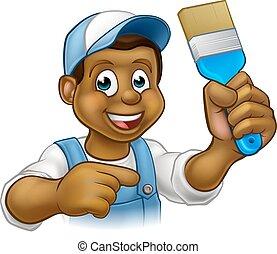 Cartoon Black Painter Decorator