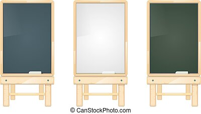 Cartoon black, white and green school blackboards on wooden stand vector set