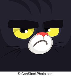 Cartoon black witch cat face.  Cute square avatar or icon. Halloween illustration. Monster Card - Witch cat.
