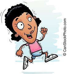 Cartoon Black Woman Running