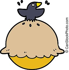 cartoon blackbird in a pie