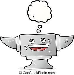 cartoon blacksmith anvil with thought bubble