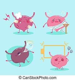 cartoon bladder feel pain