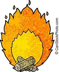 cartoon blazing camp fire