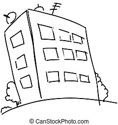 Cartoon block of flats - House isolated on white. Sketch...